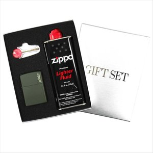 ZIPPO ジッポー ギフトBOXセット レギュラーサイズ マットカラーシリーズ グリーンマット set-zippo221zl つや消し 緑|rocobi