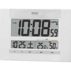 セイコー 電波置掛兼用時計 電波置掛兼用時計 掛置兼用クロック SQ429W 白塗装 温湿度表示 快適度表示 置用スタンドつき デジタル rocobi