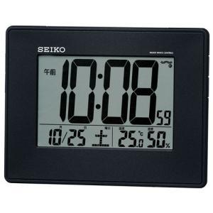 セイコー 電波時計 壁掛け時計 掛置兼用 SQ770K 黒 温度計 湿度計 デジタル|rocobi