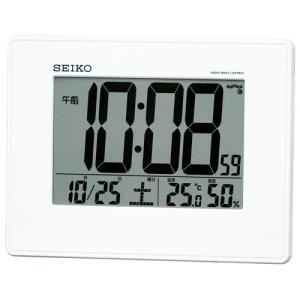 セイコー 電波時計 壁掛け時計 SQ770W 温度計 湿度計 デジタル|rocobi