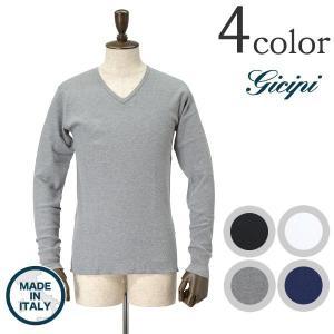 【限定クーポン対象】GICIPI (ジチピ) ロングスリーブ Vネック ワッフル Tシャツ