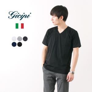 GICIPI(ジチピ) VネックシルケットジャージーTシャツ / メンズ / 半袖 / 無地 / イタリア製|rococo