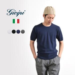 GICIPI (ジチピ) コットン 鹿の子 クルーネック Tシャツ / 無地 / 半袖 / メンズ / イタリア製|rococo