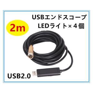 USBエンドスコープ ノートパソコン対応 ファイバースコープ防水内視鏡LEDライト付き 2m