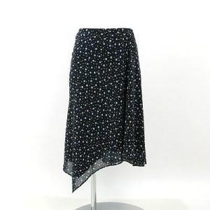 アンタイトル(UNTITLE)黒×ブルー柄スカート 0|rodeogallery