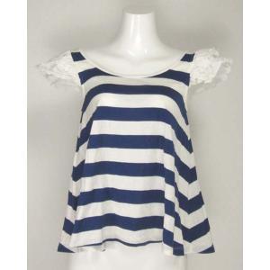 ロイスクレヨン(Lois CRAYON)青×白半袖フリルトップス M|rodeogallery
