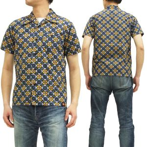 MWS オープンシャツ 80's 幾何学模様 BATIK PATTERN 1514002 紺 【3Lサイズ】 新品|rodeomatubara