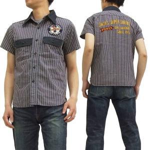 フェローズ ワークシャツ 15S-705WSS-P 刺繍 ワッペン JACK'S SERVICE Pherrow's カスタム半袖シャツ 紺 新品|rodeomatubara