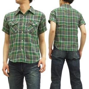 フェローズ 半袖チェックシャツ ダブルガーゼ 15S-880CSS-C Pherrow's メンズシャツ 緑 新品|rodeomatubara