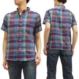 フェローズ ボタンダウンシャツ 15S-PBDS2 マドラスチェック Pherrow's メンズ 半袖シャツ 青 新品|rodeomatubara