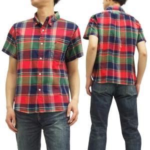フェローズ ボタンダウンシャツ 15S-PBDS2 マドラスチェック Pherrow's メンズ 半袖シャツ 赤 新品|rodeomatubara