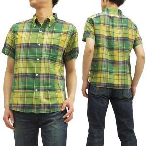 フェローズ ボタンダウンシャツ 15S-PBDS2 マドラスチェック Pherrow's メンズ 半袖シャツ 黄 新品|rodeomatubara