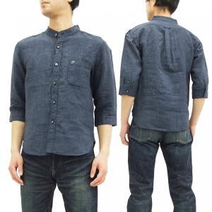 フェローズ 7分袖 バンドカラーシャツ Pherrow's リネン素材 スタンドカラーシャツ 17S-P7NC1 ネイビー 新品|rodeomatubara