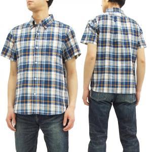 フェローズ チェック半袖シャツ Pherrow's ボタンダウンシャツ 17S-PBDS3 紺 新品|rodeomatubara