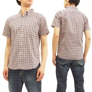 フェローズ ボタンダウンシャツ ミニチェック Pherrow's メンズ 半袖シャツ 18S-PBDS4 オフ/紺 新品|rodeomatubara