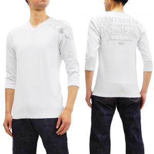 ノートンモーターサイクル 七分袖 Tシャツ Norton Vネック テレコTシャツ ロゴ刺繍 193N1101 白 新品|rodeomatubara