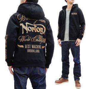 ノートン 裏ボア ジップパーカー Norton ボンディングスウェット 193N1314 防風 ラメ使い刺繍 黒 新品|rodeomatubara