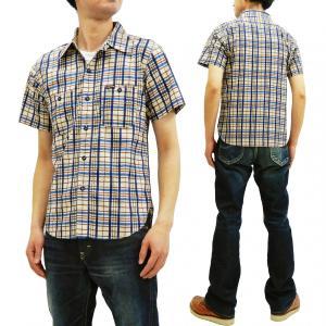 フェローズ ワークシャツ Pherrow's 手書き風チェック 半袖シャツ 19S-720WSS-CH ネイビー系 新品|rodeomatubara