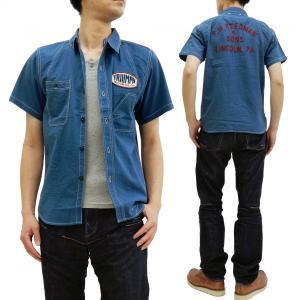 フェローズ ワークシャツ Pherrow's シアサッカー カスタム半袖シャツ 19S-778WSS-C ワッペン チェーン刺繍 ブルー 新品|rodeomatubara