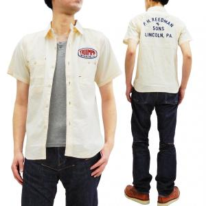 フェローズ ワークシャツ Pherrow's シアサッカー カスタム半袖シャツ 19S-778WSS-C ワッペン チェーン刺繍 オフ白 新品|rodeomatubara