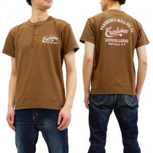 フェローズ 半袖Tシャツ PHERROWS ヘンリーネック Tシャツ Excelsior Motor Oil Co. 19S-PHNT-P1 ココア 新品|rodeomatubara
