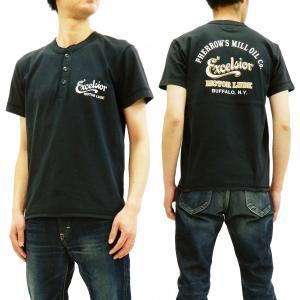 フェローズ 半袖Tシャツ PHERROWS ヘンリーネック Tシャツ Excelsior Motor Oil Co. 19S-PHNT-P1 S.ブラック 新品|rodeomatubara