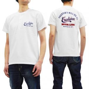 フェローズ 半袖Tシャツ PHERROWS ヘンリーネック Tシャツ Excelsior Motor Oil Co. 19S-PHNT-P1 白 新品|rodeomatubara