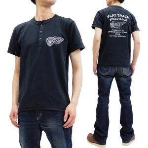 フェローズ 半袖Tシャツ PHERROWS ヘンリーネック Tシャツ FLAT TRACK 19S-PHNT-P3 S.ブラック 新品|rodeomatubara