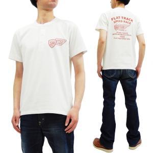 フェローズ 半袖Tシャツ PHERROWS ヘンリーネック Tシャツ FLAT TRACK 19S-PHNT-P3 白 新品|rodeomatubara