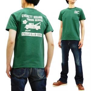 フェローズ ポケットTシャツ PHERROWS 半袖Tシャツ レッカー会社 EVERETT SQUARE TOWING SERVICE 19S-PPT4 グリーン 新品|rodeomatubara