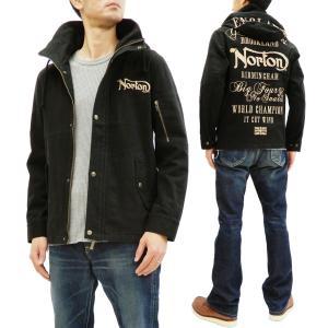 ノートン ストレッチツイル ミリタリージャケット 201N1601 Norton ライトアウター ロゴ総刺繍 ブラック 新品|rodeomatubara