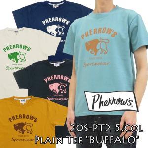 フェローズ 半袖Tシャツ PT2 Pherrow's 定番 バッファロー メンズ Tシャツ 20S-PT2 新品|rodeomatubara