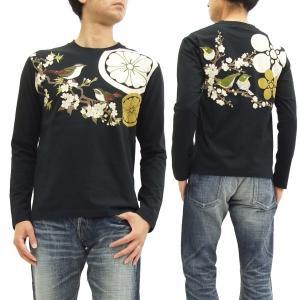 華鳥風月 和柄 長袖Tシャツ 家紋 目白と鶯 刺繍ロンT 373151 黒 新品|rodeomatubara