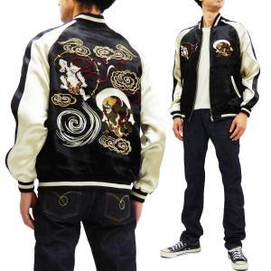 ジャパネスク スカジャン 3RSJ-003 風神雷神 Japanesque メンズ スーベニアジャケット 黒×オフ 新品|rodeomatubara
