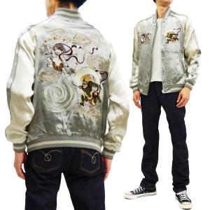 ジャパネスク スカジャン 3RSJ-003 風神雷神 Japanesque メンズ スーベニアジャケット グレー×オフ 新品|rodeomatubara