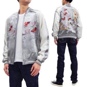 ジャパネスク スカジャン 3RSJ-701 菊と蝶と金魚 刺繍 メンズ 和柄 スーベニアジャケット グレー×オフ 新品|rodeomatubara