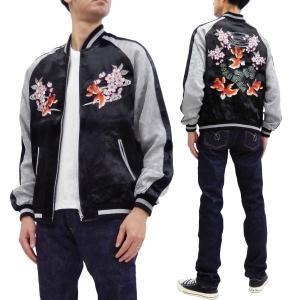 ジャパネスク スカジャン 3RSJ-702 桜と金魚 Japanesque メンズ スーベニアジャケット 黒×グレー 新品|rodeomatubara