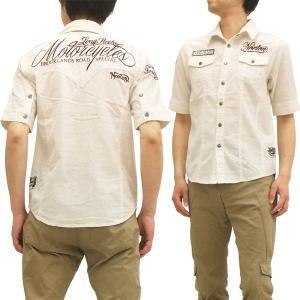 ノートンモーターサイクル 5分袖ミリタリーウエスタンシャツ 42N1509 五分袖シャツ オフ白 新品|rodeomatubara