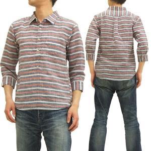 エターナル プルオーバーシャツ ボーダー 七分袖シャツ リネン/麻素材 53967 ネイビー×レッド 新品|rodeomatubara