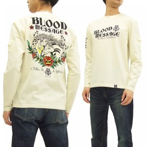 ブラッドメッセージ 長袖Tシャツ BLLT-1060 Blood Message ロンT 3 HORSES エフ商会 オフ白 新品|rodeomatubara