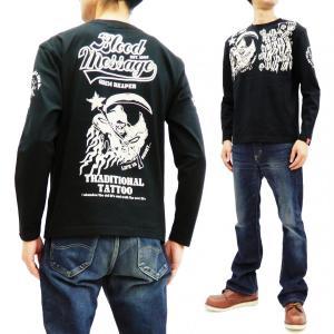 ブラッドメッセージ 長袖Tシャツ BLLT-1190 Blood Message ロンT 死神の声 エフ商会 黒 新品|rodeomatubara