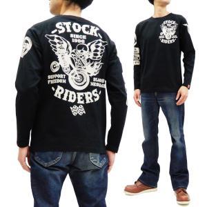 ブラッドメッセージ 長袖Tシャツ BLLT-1200 Blood Message ストックライダース エフ商会 ロンT 黒×黒 新品|rodeomatubara