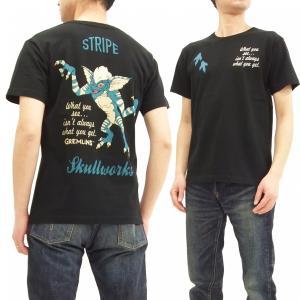 グレムリン スカルワークス 半袖Tシャツ ストライプ Tシャツ GRM-05 黒 新品
