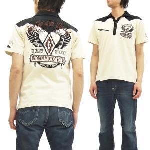 インディアンモトサイクル ポロシャツ IMPS-608 ウィングチマヨ柄刺繍 アメカジ ネイティブ 半袖ポロ 生成 新品