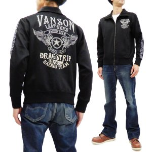 バンソン ジャージ VANSON トラックジャケット NVSZ-903 フライングスター 刺繍 ロゴテープ 黒 新品 rodeomatubara