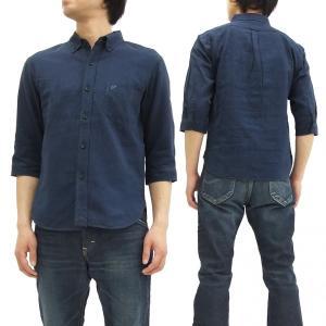 フェローズ 七分袖シャツ Pherrow's ボタンダウンシャツ 綿麻 メンズ 7分袖 18S-P7BD1 紺 新品|rodeomatubara
