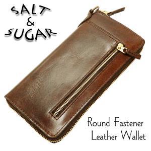 ソルトアンドシュガー レザーロングウォレット ラウンドファスナー 牛革製 長財布 サイフ PI-2855 チョコ 新品|rodeomatubara