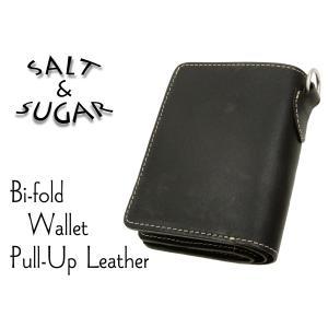 メンズ レザーウォレット 牛革製 二つ折り 財布 サイフ ソルト・アンド・シュガー PI-2860 ブラック 新品|rodeomatubara