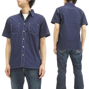 シュガーケーン ワークシャツ SC36670 水玉模様 polka dot SUGAR CANE 半袖シャツ ネイビー 新品