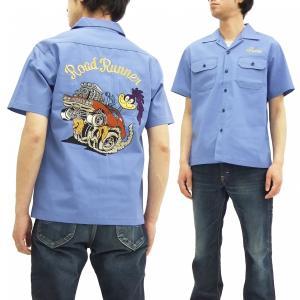 シュガーケーン ロードランナー ワークシャツ SC37641 Sugar Cane メンズ 半袖シャツ サックス 新品